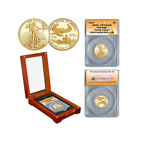 2016 PR70 ANACS FDOI LE of (189) $5 Gold Eagle Coin