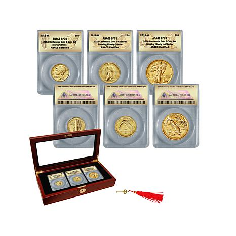 2016 SP70 ANACS 3pc 24K Centennial Coin Set