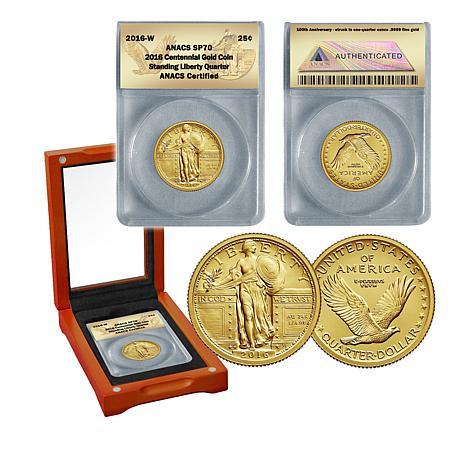 2016 SP70 ANACS Standing Liberty 24K Gold Quarter