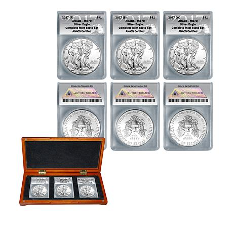 2017 MS70 ANACS PSW  Silver Eagle Complete Mint Set