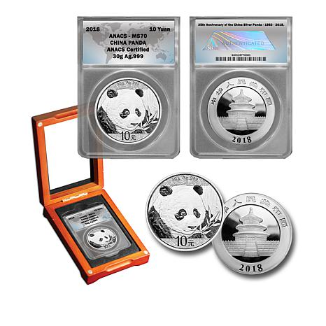 2018 MS70 ANACS China Silver Panda 10-Yuan Coin