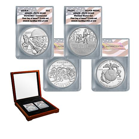 2018 PR70 FDOI World War I Centennial Silver Dollar & Marine Medal Set