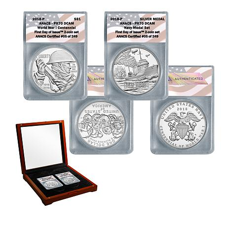 2018 PR70 FDOI World War I Centennial Silver Dollar and Navy Medal Set