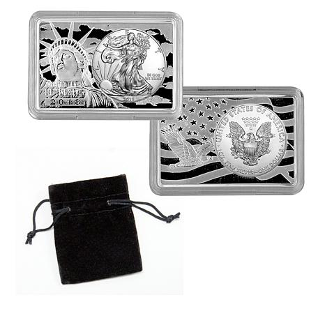 2018 Silver Eagle Embedded in 2-Ounce  Silver Bar - Auto-Ship®