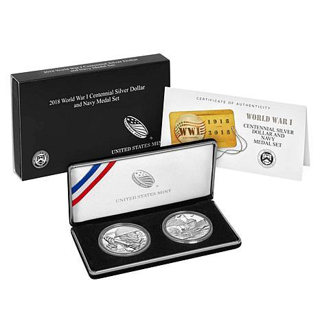 2018 World War I Centennial Silver Dollar and Navy Silver Medal Set