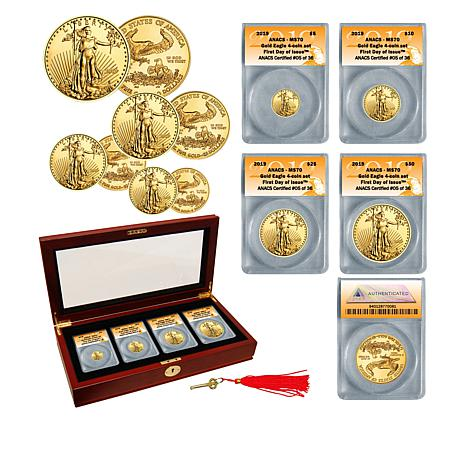 2019 MS70 ANACS FDOI Limited Edition of 36 Gold Eagle 4-Coin Set