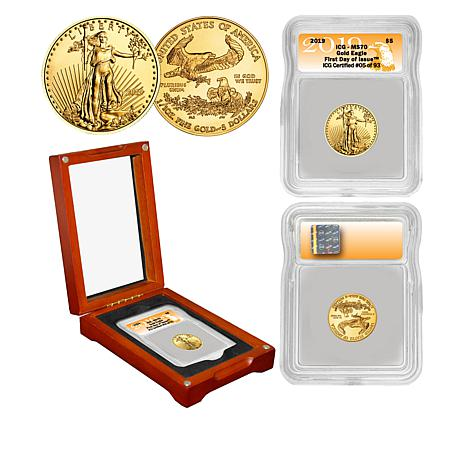 2019  MS70 ICG First Day of Issue Limited Edition $5 Gold Eagle Coin