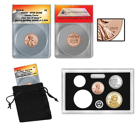 2019 RP69 FDOI Lincoln Penny & 3 Proof Coins in U.S. Mint Lens