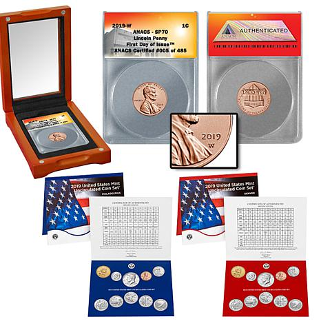 2019-W SP70 FDOI LE Lincoln Penny and 2019 P&D Uncirculated