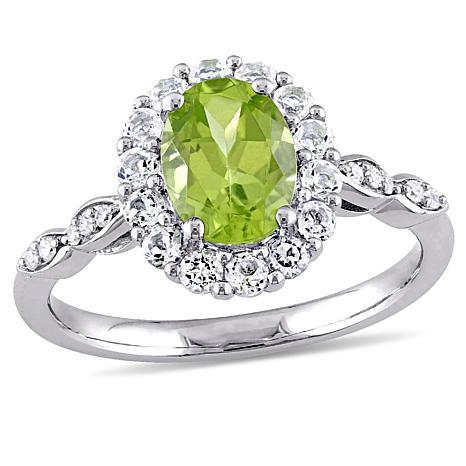 2.01ctw Peridot, White Topaz and Diamond 14K White Gold Ring