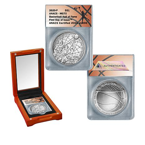 2020 MS70 ANACS FDOI LE 396 Basketball Hall of Fame Silver Dollar