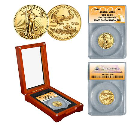 2020 MS70 ANACS First Day of Issue Limited Edition $5 Gold Eagle Coin
