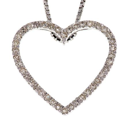 ".20ctw Red or White Diamond Heart Pendant with 18"" Chain"