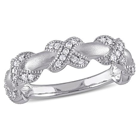 .22ctw Diamond 14K White Gold Pavé Twist Ring