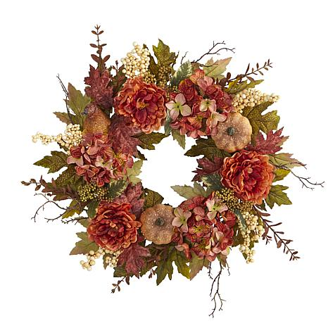 24 in. Peony, Hydrangea and Pumpkin Fall Artificial Wreath