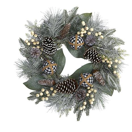 24 in. Snow Tipped Holiday Artificial Wreath with Berries, Pine Con...