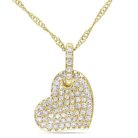 ".25ctw Diamond 14K Pavé Heart Pendant with 17"" Chain"