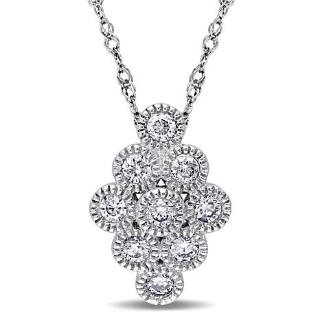 """.27ctw Diamond 14K White Gold Elongated Cluster Pendant with 17"""" Chain"""