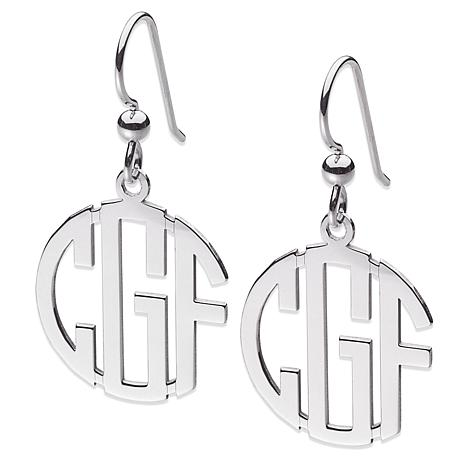 3-Initial Block Monogram Sterling Silver Drop Earrings