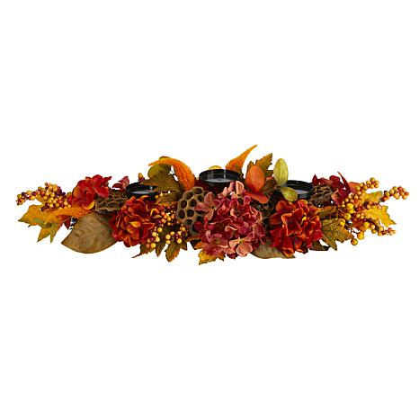 32 in. Fall Hydrangea, Lotus Seed and Berries Artificial Candelabru...
