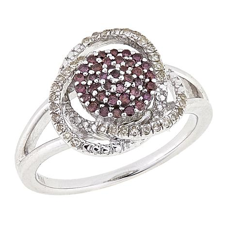 .32ctw Purple and White Diamond Cluster Sterling Silver Ring