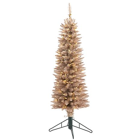 4 ft. Champagne Pencil Artificial Christmas Tree with 150 multifunc...