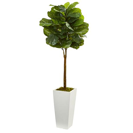4 Ft. Fiddle Leaf Artificial Tree in White Tower Planter