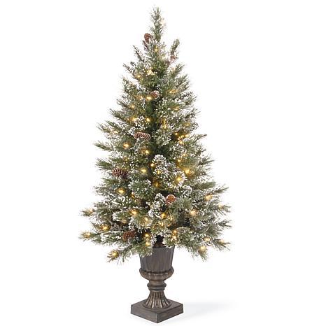 4' Glittery Pine Entrance Tree w/Lights