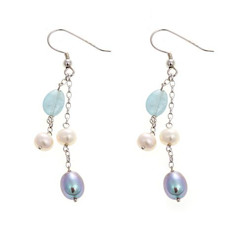 5-8mm Cultured Pearl and Aqamarine Earrings
