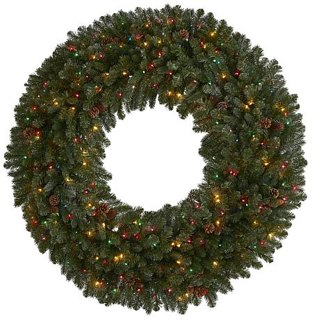 5 ft. Giant Flocked Artificial Christmas Wreath with 280 Multicolor...