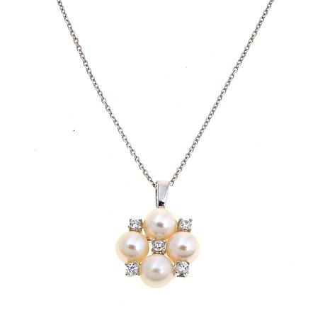 5.5mm Cultured Pearl and CZ Cluster Pendant
