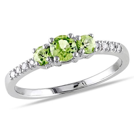 .58ctw Peridot and Diamond 10K  Round 3-Stone Ring