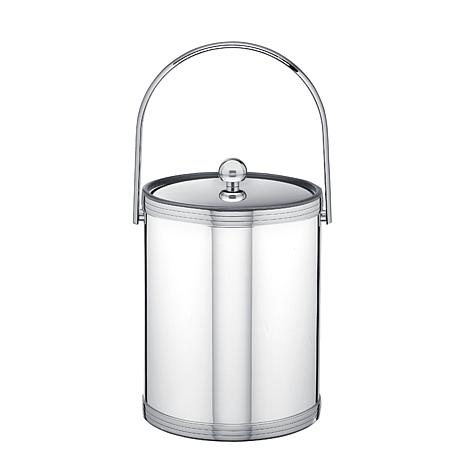 5Qt Mylar Ice Bucket with Metal Lid, Tri-Band Accents