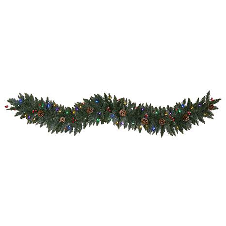 6' Snow Dusted Artificial Christmas Garland with 50 Multicolored LE...