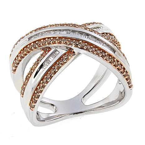 """.60ctw Colored and White Diamond Sterling Silver """"X"""" Ring"""