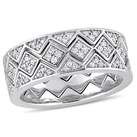 .61 ctw Diamond 14K White Gold 3-piece Stacked Band Ring Set