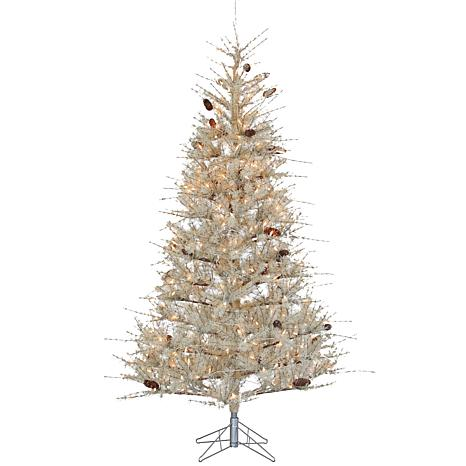 7' Hard Needle Lighted Slim Tree with Pine Treecones - Frosted Sage