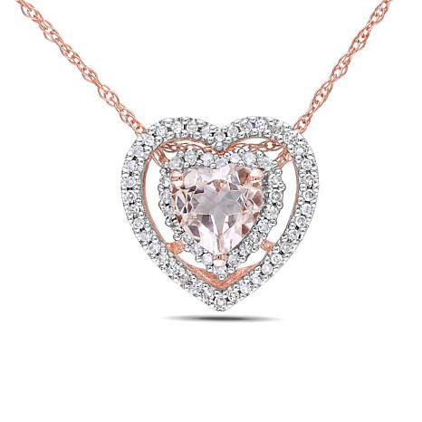 diamond brilliant necklace rose top morganite earth gold pendant halo