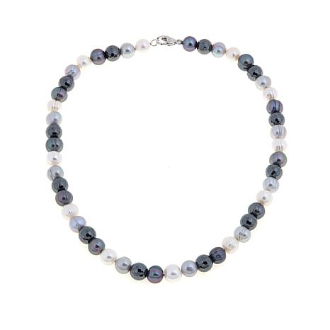 9-10mm Multicolor Pearl and Hematite Bead Necklace