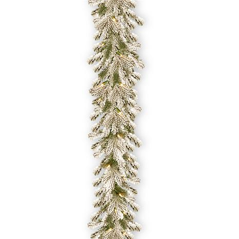 9' Feel Real® Snowy Sheffield Spruce Garland with 70 Clear Lights