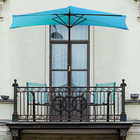 9' Half-Round Patio Umbrella with Easy Crank - Brilliant Blue