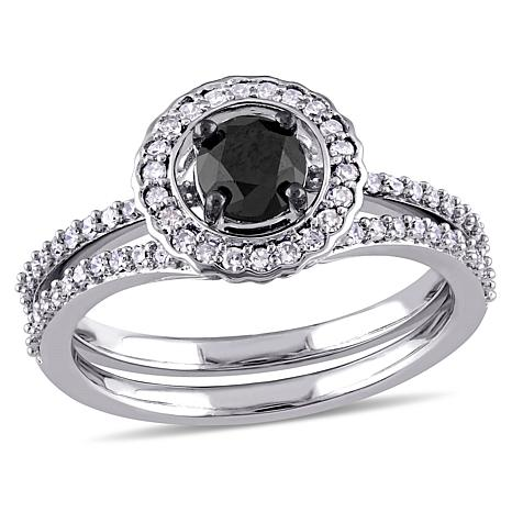 .99ctw Black.White Diamond Heart 14K White Gold 2pc Set