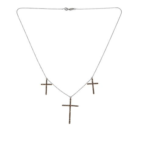 ".99ctw Champagne Diamond 3-Cross Sterling Silver 18"" Necklace"