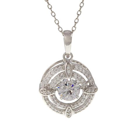 """Absolute™ 1.14ctw Dancing CZ Double Frame Pendant with 18"""" Chain"""