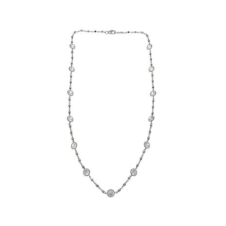 "Absolute™ 11.70ctw Round CZ 18"" Station Necklace"