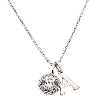 "Absolute™ 18"" Cubic Zirconia Halo and Initial Drop Necklace"
