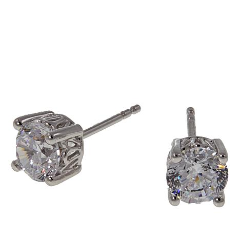Absolute™  1.80ctw CZ Aurora Star 101 Facets Platinum-Plated Earrings