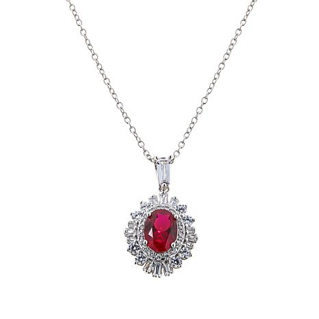 Absolute™ 1.85ctw Created Ruby and CZ Sterling Silver Cluster Pendant