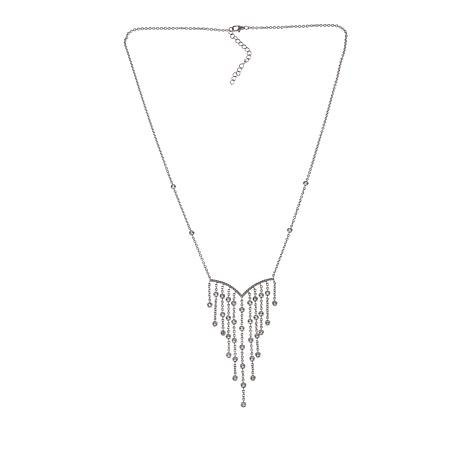 """Absolute™ 1.88ctw CZ Sterling Silver 21-1/2"""" V-Drop Station Necklace"""