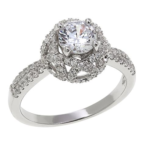 Absolute™ 1.90ctw CZ Round with Pavé Gallery 3-Stone Ring